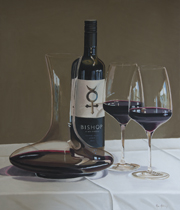 Bishop Shiraz wine art painting by Rob Kennedy