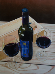 painting of wine bottle