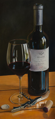 Three Rivers Shiraz wine art painted by Rob Kennedy